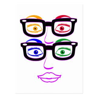 Cuatro ojos Nerdy coloridos Postal