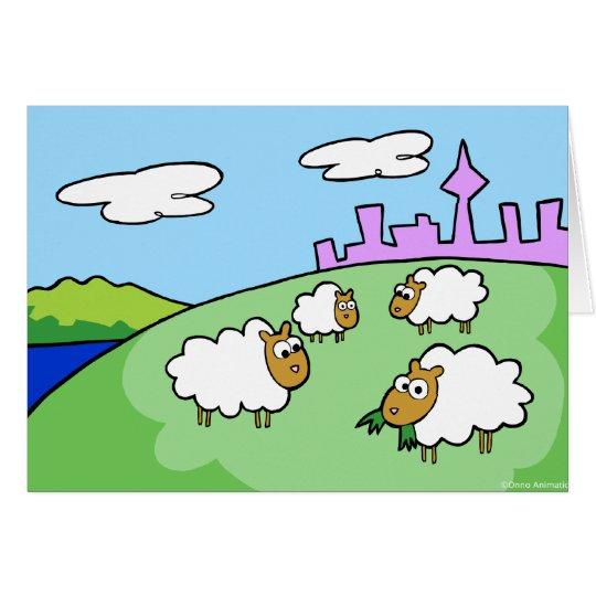 Cuatro ovejas en una tarjeta de felicitación de la
