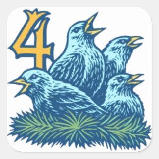 Cuatro pájaros de Colly Pegatinas Cuadradases