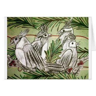 Cuatro pájaros de llamada tarjeta de felicitación