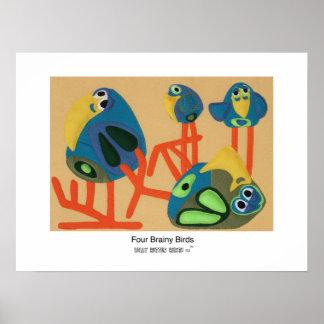 Cuatro pájaros inteligentes póster