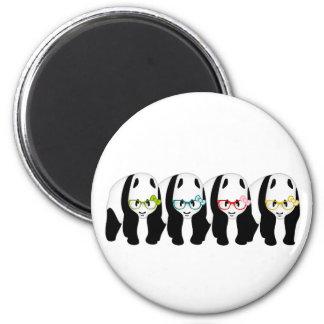 Cuatro pandas que llevan los vidrios imán redondo 5 cm