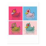 Cuatro patos coloridos tarjetas postales
