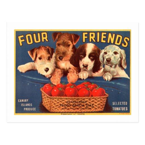 Cuatro perros de la etiqueta del cajón del tomate  tarjeta postal
