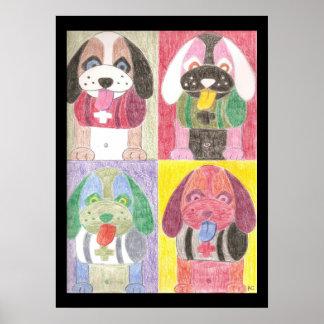 Cuatro perros impresiones