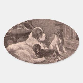 Cuatro perros por el hogar pegatinas óval personalizadas