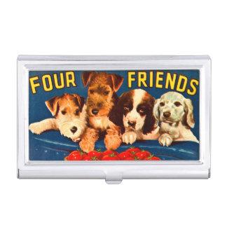 Cuatro perros vegetales del anuncio del vintage de cajas de tarjetas de negocios