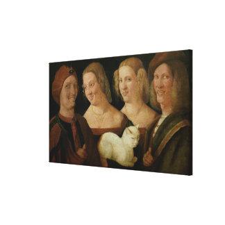 Cuatro personas que se ríen de la vista de un gato lona estirada galerías