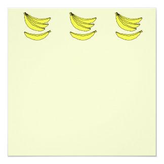 """Cuatro plátanos amarillos invitación 5.25"""" x 5.25"""""""