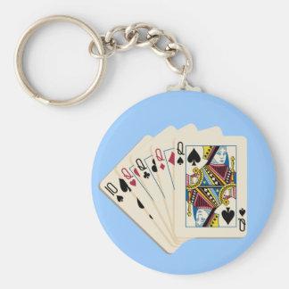 Cuatro Queens - mano de póker - juego para ganar Llavero Redondo Tipo Pin