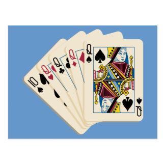Cuatro Queens - mano de póker - juego para ganar Tarjetas Postales