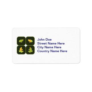 Cuatro ranas etiquetas de dirección
