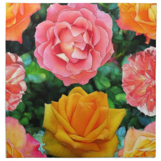 Cuatro rosas servilletas imprimidas