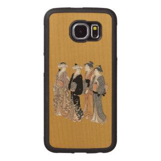 Cuatro señoras japonesas del geisha del vintage fundas de madera para samsung s6