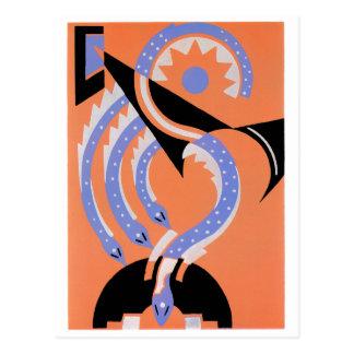 Cuatro serpientes azules postales