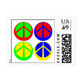 Cuatro signos de la paz en el sello redondo
