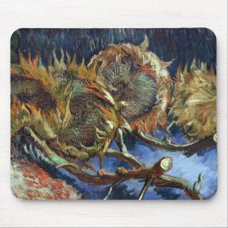 Cuatro Sunflowes ido para sembrar por Van Gogh Alfombrillas De Ratón