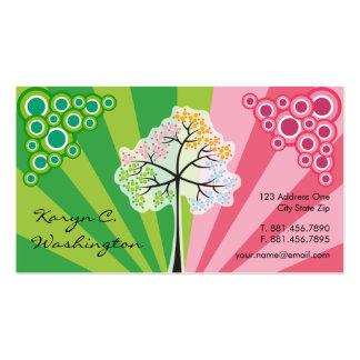 Cuatro tarjetas de visita coloridas de las rayas
