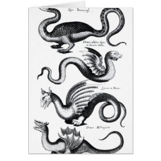 Cuatro tipos de dragón tarjeta de felicitación
