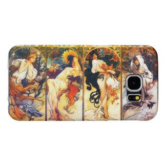 Cuatro vintage Mucha de las estaciones 2 Funda Samsung Galaxy S6