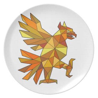 Cuauhtli Glifo Eagle Fighting Stance Low Polygon Melamine Plate