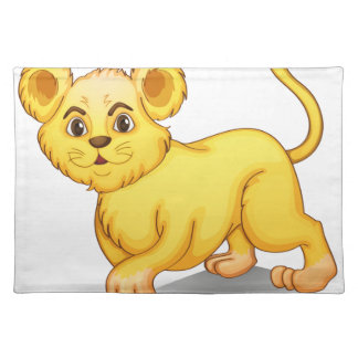 cub on white cloth place mat