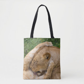 Cub Playing with Lioness Tote Bag