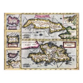 Cuba and Hispaniola Antique Map Postcard