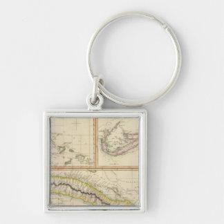 Cuba, Bahama I, Bermudas Silver-Colored Square Keychain