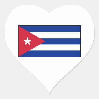 Cuba - bandera cubana calcomanía corazón