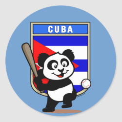 Round Sticker with Cuba Baseball Panda design
