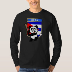 Men's Basic Long Sleeve T-Shirt with Cuba Baseball Panda design