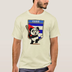 Men's Basic T-Shirt with Cuba Baseball Panda design