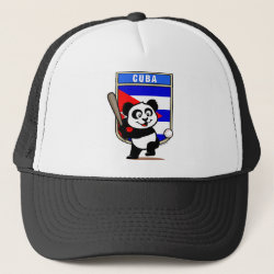 Trucker Hat with Cuba Baseball Panda design