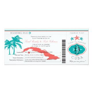 Cuba Boarding Pass Wedding Invitation