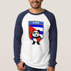 Men's Canvas Long Sleeve Raglan T-Shirt with Cuba Boxing Panda design