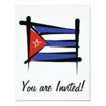 Cuba Brush Flag 4.25x5.5 Paper Invitation Card