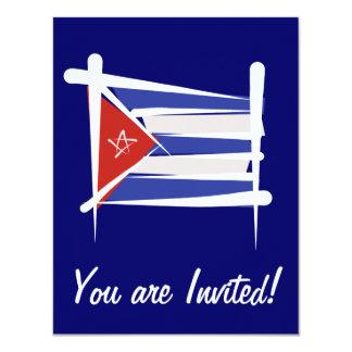 Cuba Brush Flag Custom Invitations
