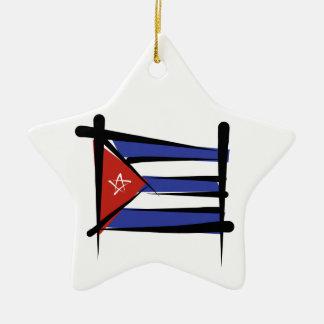 Cuba Brush Flag Christmas Tree Ornaments