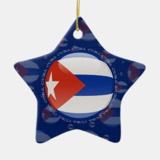Cuba Bubble Flag Double-Sided Star Ceramic Christmas Ornament