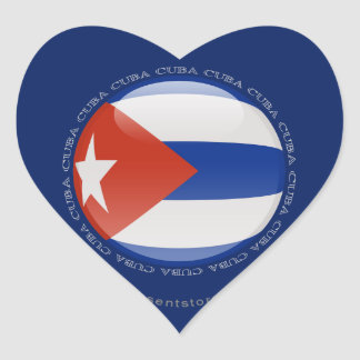 Cuba Bubble Flag Heart Sticker