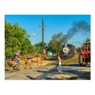 Cuba: Busy railroad crossing. Postcard
