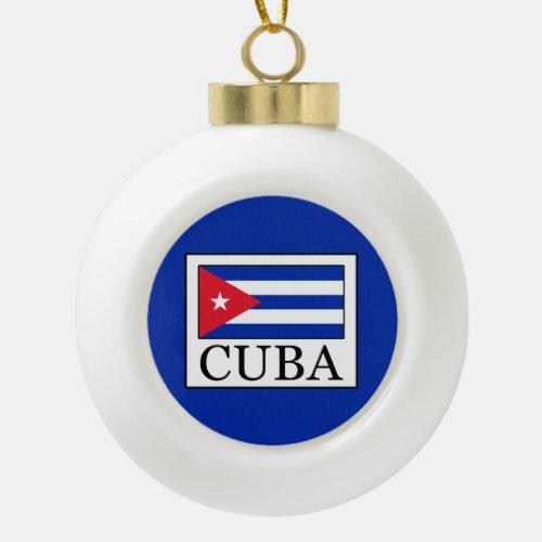 Cuba Ceramic Ball Christmas Ornament