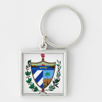 Cuba Coat of arms CU Silver-Colored Square Keychain