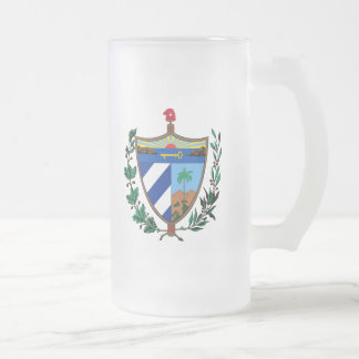 cuba coat of arms frosted glass beer mug