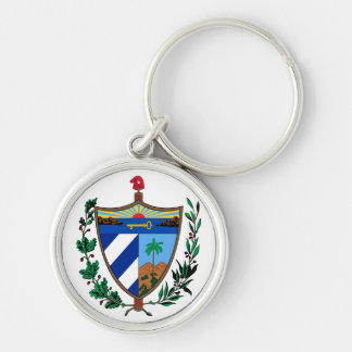 cuba coat of arms Silver-Colored round keychain