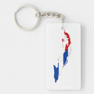 cuba country flag map shape silhouette Single-Sided rectangular acrylic keychain
