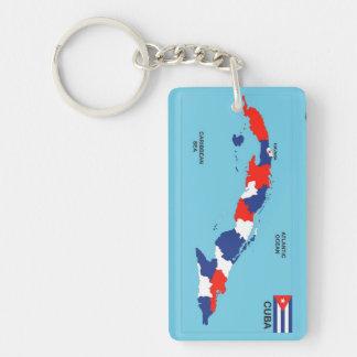 Cuba country political map flag Double-Sided rectangular acrylic keychain