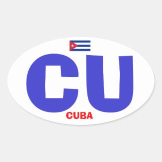 Cuba* CU European-style Oval Sticker