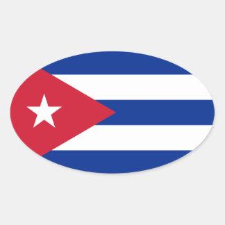 Cuba/Cuban Flag Oval Sticker